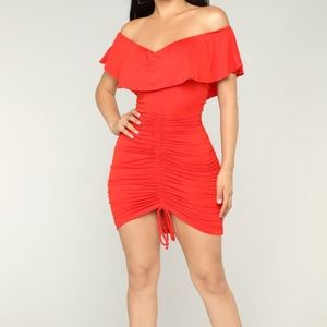 Sigeon Red Ruched Dress